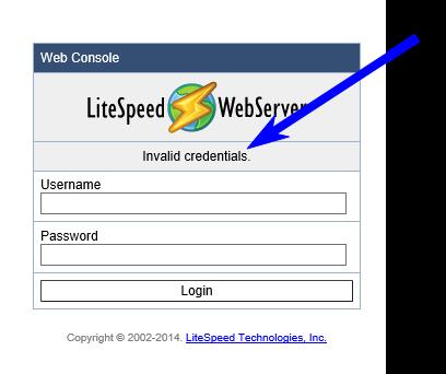 litespeed forgot password - invalid credentials