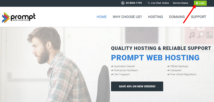 Step 1. Go to Prompt Web Hosting home page.