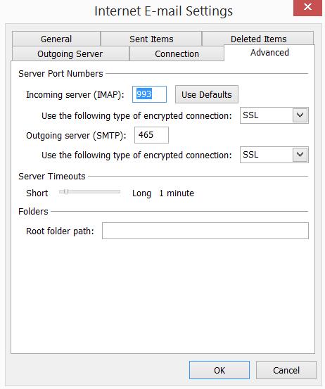 Outlook port details